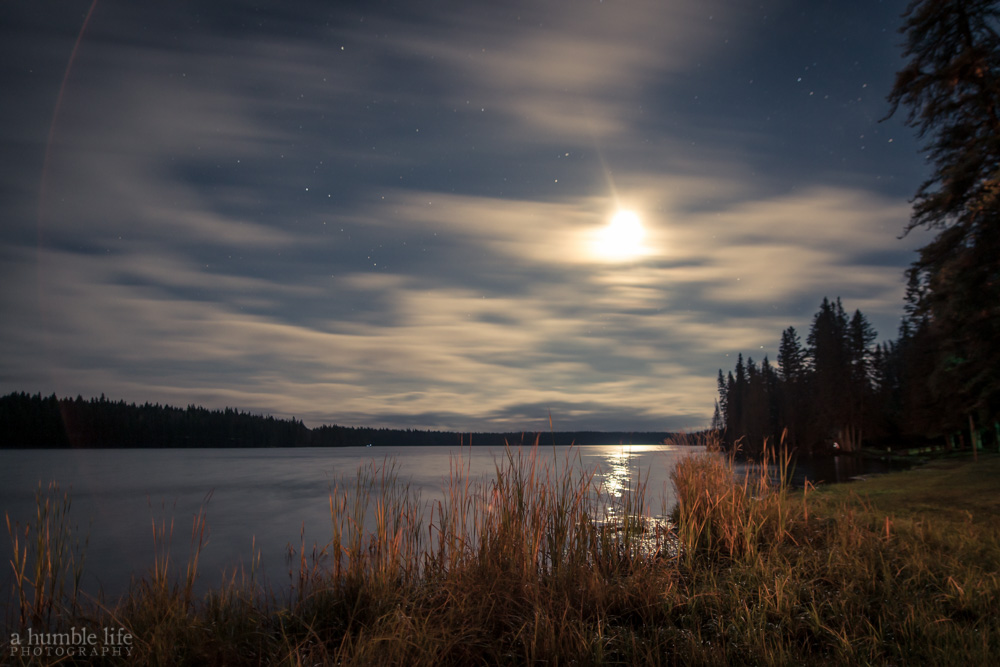 Moon Setting Over East Blue Lake, Manitoba